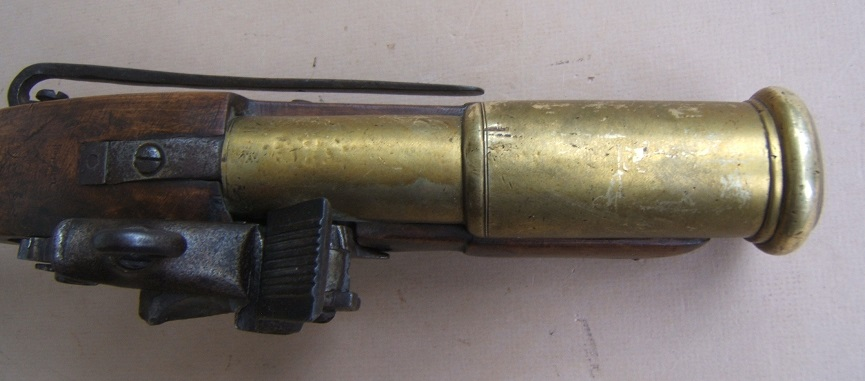 A VERY RARE MID-18th CENTURY BRONZE/BRASS BARREL SPANISH/SPANISH-COLONIAL MIQUELET GRENADE-LAUNCHER w/ CATALONIAN STYLE STOCK, ca. 1750 view 6