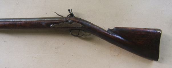 A FINE COLONIAL/FRENCH & INDIAN WAR PERIOD TIGER MAPLE STOCK HUDSON VALLEY LONG FOWLER, ca. 1750 view 2