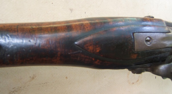 A FINE COLONIAL/FRENCH & INDIAN WAR PERIOD TIGER MAPLE STOCK HUDSON VALLEY LONG FOWLER, ca. 1750 view 4