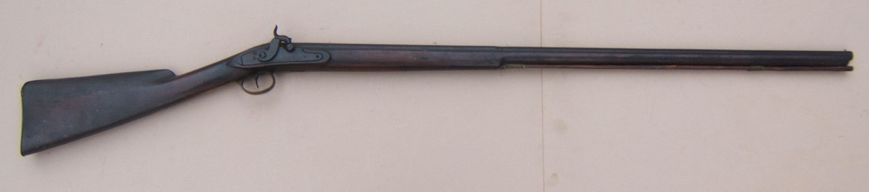 "A VERY GOOD UNTOUCHED PERCUSSION CONVERTED ""TRADE GUN TYPE"" FOWLER, by ""R. PERRY"", ca. 1820 view 1"