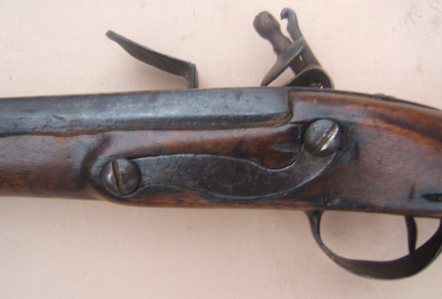 "A FINE & RARE ""US SURCHARGED"" COLONIAL/FRENCH & INDIAN/AMERICAN REVOLUTIONARY WAR PERIOD AMERICAN-MADE MUSKET, ca. 1750 view 4"