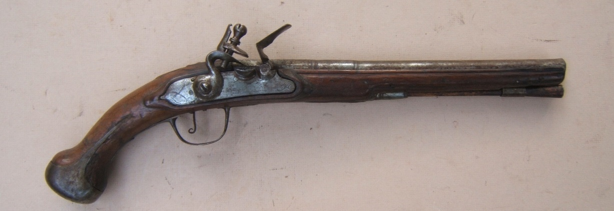 AN EARLY & RARE 17TH CENTURY FRENCH/FRENCH COLONIAL? FLINTLOCK OFFICER'S CAVALRY/HORSE PISTOL, ca. 1670 view 1