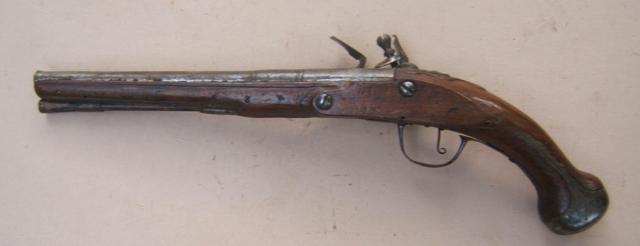 AN EARLY & RARE 17TH CENTURY FRENCH/FRENCH COLONIAL? FLINTLOCK OFFICER'S CAVALRY/HORSE PISTOL, ca. 1670 view 2