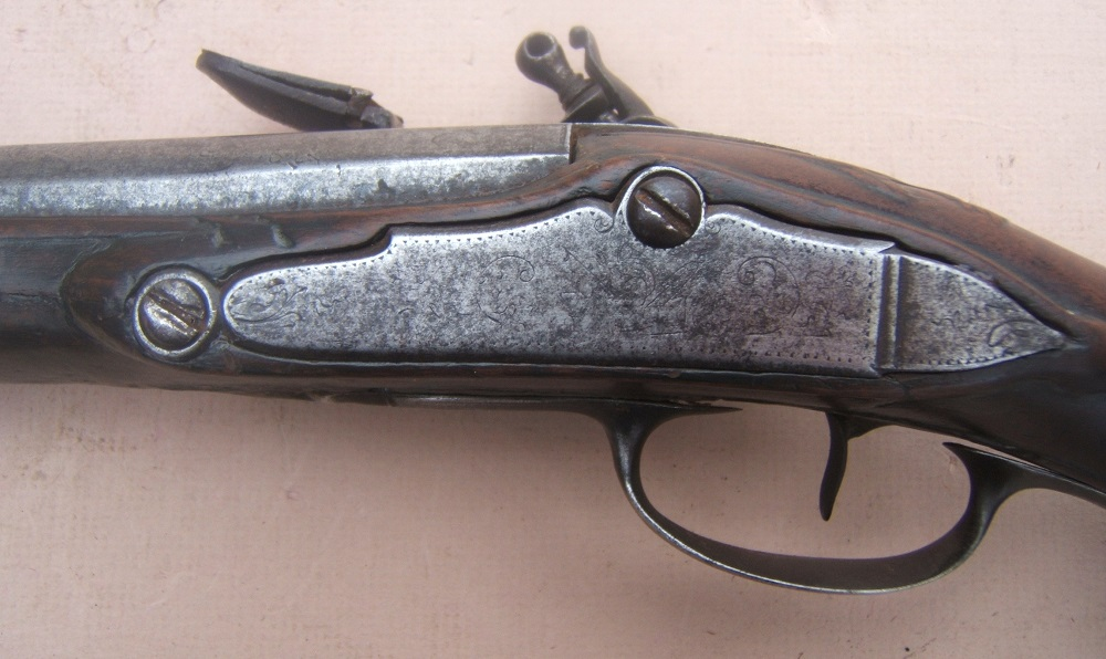 A VERY LONG & EARLY 18th CENTURY FRENCH MILITARY FLINTLOCK OFFICER'S HOLSTER/HORSE PISTOL, ca. 1720 view 4