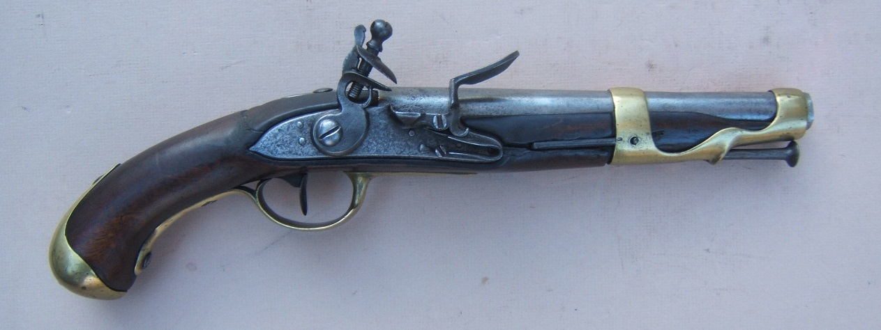 A VERY GOOD AMERICAN-USED REVOLUTIONARY WAR PERIOD FRENCH MODEL 1763/66 FLINTLOCK CAVALRY PISTOL, ca. 1766 view 1