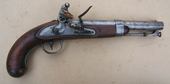A FINE+ R. JOHNSON US Mdl. 1836 FLINTLOCK PISTOL, Dtd. 1837 view 1