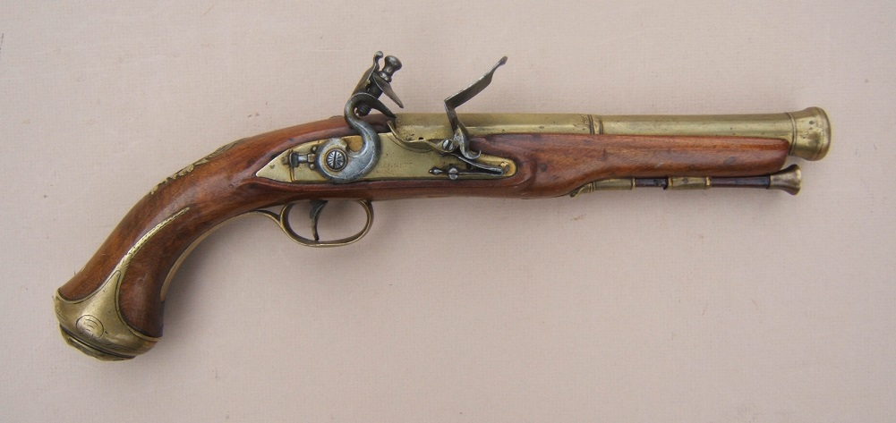 A FINE GEORGIAN/REVOLUTIONARY WAR PERIOD BRASS BARREL BLUNDERBUSS PISTOL BY BENNETT, ca. 1781 view 1