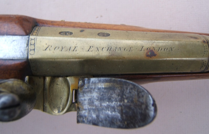 A FINE GEORGIAN/REVOLUTIONARY WAR PERIOD BRASS BARREL BLUNDERBUSS PISTOL BY BENNETT, ca. 1781 view 5
