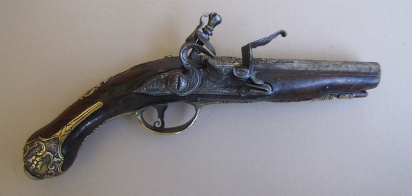 "A VERY FINE BRESCIAN (N. ITALIAN) FLINTLOCK GREATCOAT/POCKET PISTOL, by ""ANGELO BINI"" ca. 1780 view 1"