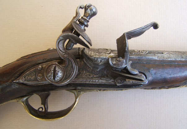 "A VERY FINE BRESCIAN (N. ITALIAN) FLINTLOCK GREATCOAT/POCKET PISTOL, by ""ANGELO BINI"" ca. 1780 view 3"