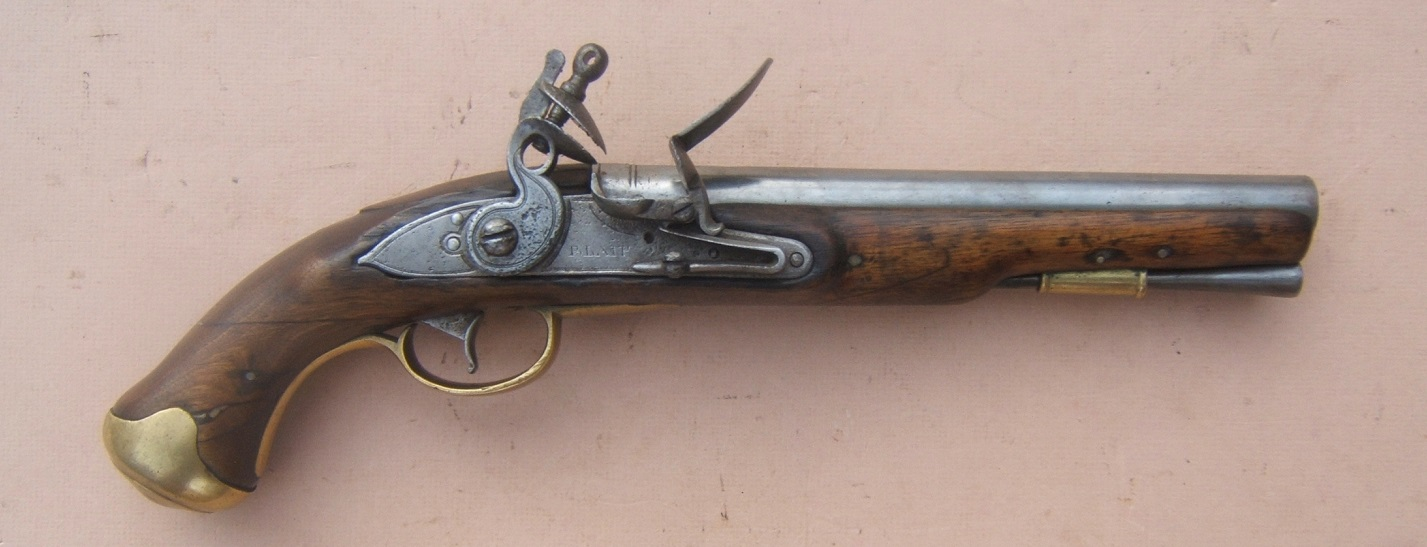"A VERY GOOD NAPOLEONIC/WAR OF 1812 PERIOD ENGLISH LIGHT PATTERN DRAGOON FLINTLOCK PISTOL, by ""BLAIR"", ca. 1805  view 1"