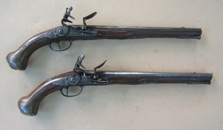 A VERY FINE PAIR OF EARLY & LARGE 18TH CENTURY FRENCH FLINTLOCK HOLSTER PISTOLS, ca. 1720s view 1