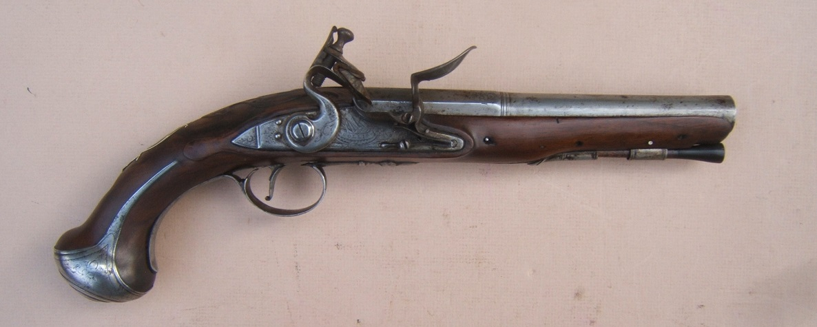 "A FINE REVOLUTIONARY WAR PERIOD SILVER MOUNTED ENGLISH FLINTLOCK OFFICER'S PISTOL BY ""COLLIS"", ca. 1776 view 1"