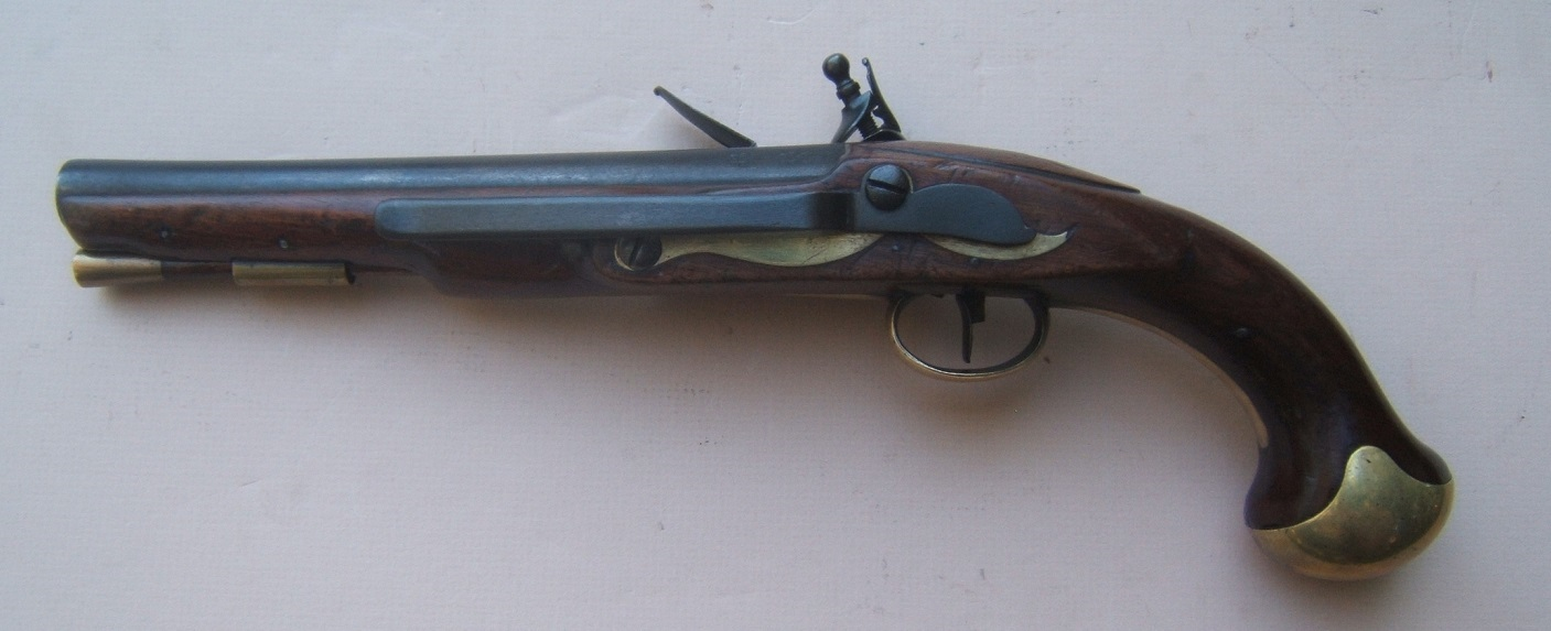"A VERY FINE & SCARCE FRENCH & INDIAN/AMERICAN REVOLUTIONARY WAR PERIOD ENGLISH NAVAL/SEA SERVICE PISTOL, by ""COLLUMBELL"" ca. 1760 view 2"