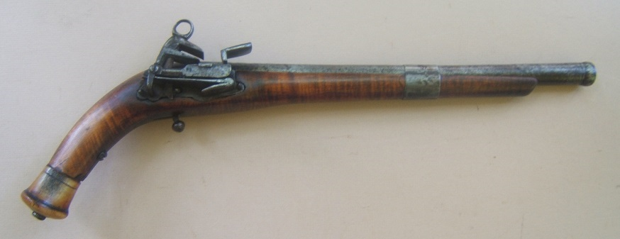 A VERY GOOD COSSACK (RUSSIAN) BURLWOOD STOCK BALL-BUTT MIQUELET HOLSTER PISTOL, ca. 1780-1800 view 1