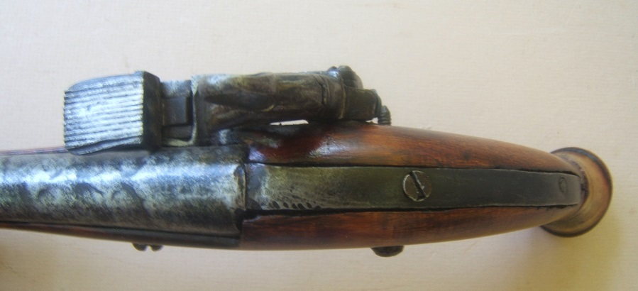 A VERY GOOD COSSACK (RUSSIAN) BURLWOOD STOCK BALL-BUTT MIQUELET HOLSTER PISTOL, ca. 1780-1800 view 5