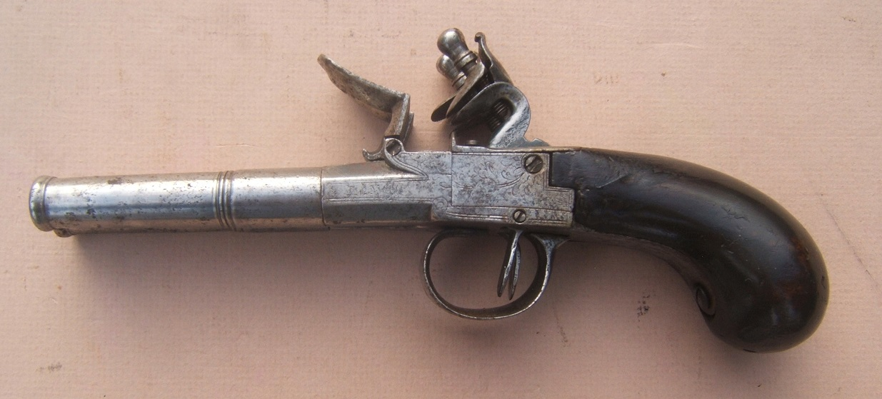 A VERY GOOD AMERICAN REVOLUTIONARY WAR PERIOD ENGLISH FLINTLOCK DOUBLE-BARREL TRAVELLING/BELT PISTOL, ca. 1770 view 1
