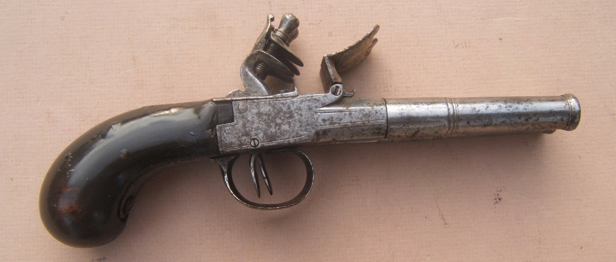 A VERY GOOD AMERICAN REVOLUTIONARY WAR PERIOD ENGLISH FLINTLOCK DOUBLE-BARREL TRAVELLING/BELT PISTOL, ca. 1770 view 2