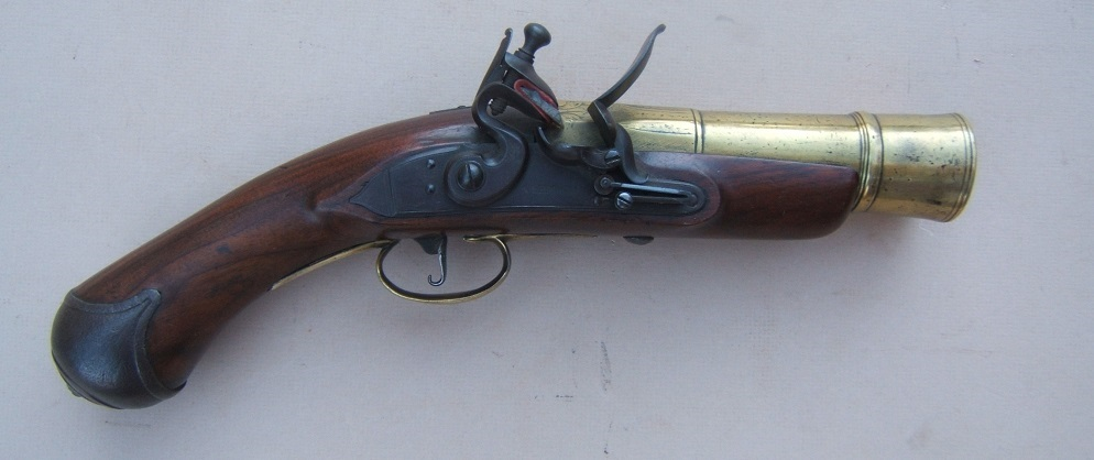 A RARE & UNUSUAL NAPOLEONIC PERIOD ENGLISH FLINTLOCK NAVAL HAND-MORTAR/GRENADE PISTOL, ca. 1810 view 1