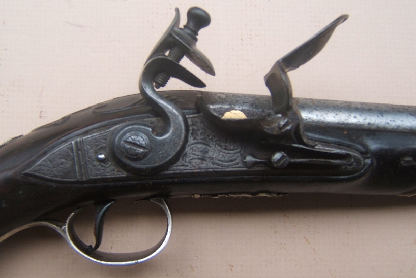 "A FINE QUALITY SILVER MOUNTED REVOLUTIONARY WAR PERIOD FLINTLOCK OFFICER'S PISTOL, by ""GRIFFIN"", HALLMARKED FOR 1766 view 3"