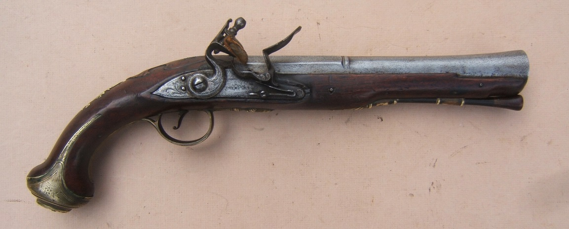 "A VERY GOOD FRENCH & INDIAN/AMERICAN REVOLUTIONARY WAR PERIOD ENGLISH FLINTLOCK OFFICER'S BLUNDERBUSS HOLSTER PISTOL BY ""JOYNER"", ca. 1760 view 1"