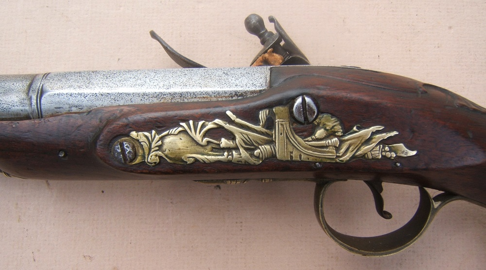 "A VERY GOOD FRENCH & INDIAN/AMERICAN REVOLUTIONARY WAR PERIOD ENGLISH FLINTLOCK OFFICER'S BLUNDERBUSS HOLSTER PISTOL BY ""JOYNER"", ca. 1760 view 4"