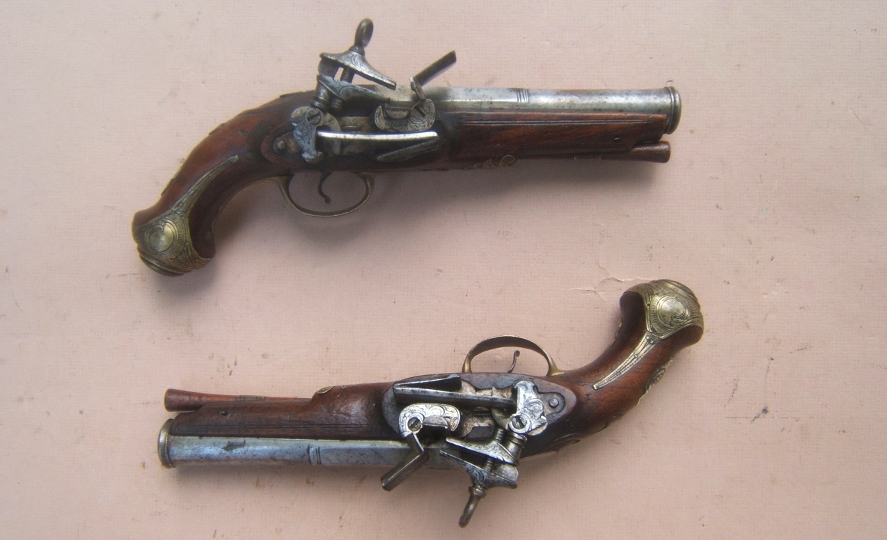"A FINE PAIR OF SPANISH (RIPOLL-MADE) MIQUELET OFFICER'S BELT-PISTOLS, by ""JOAN PRAT"", ca. 1780 view 1"