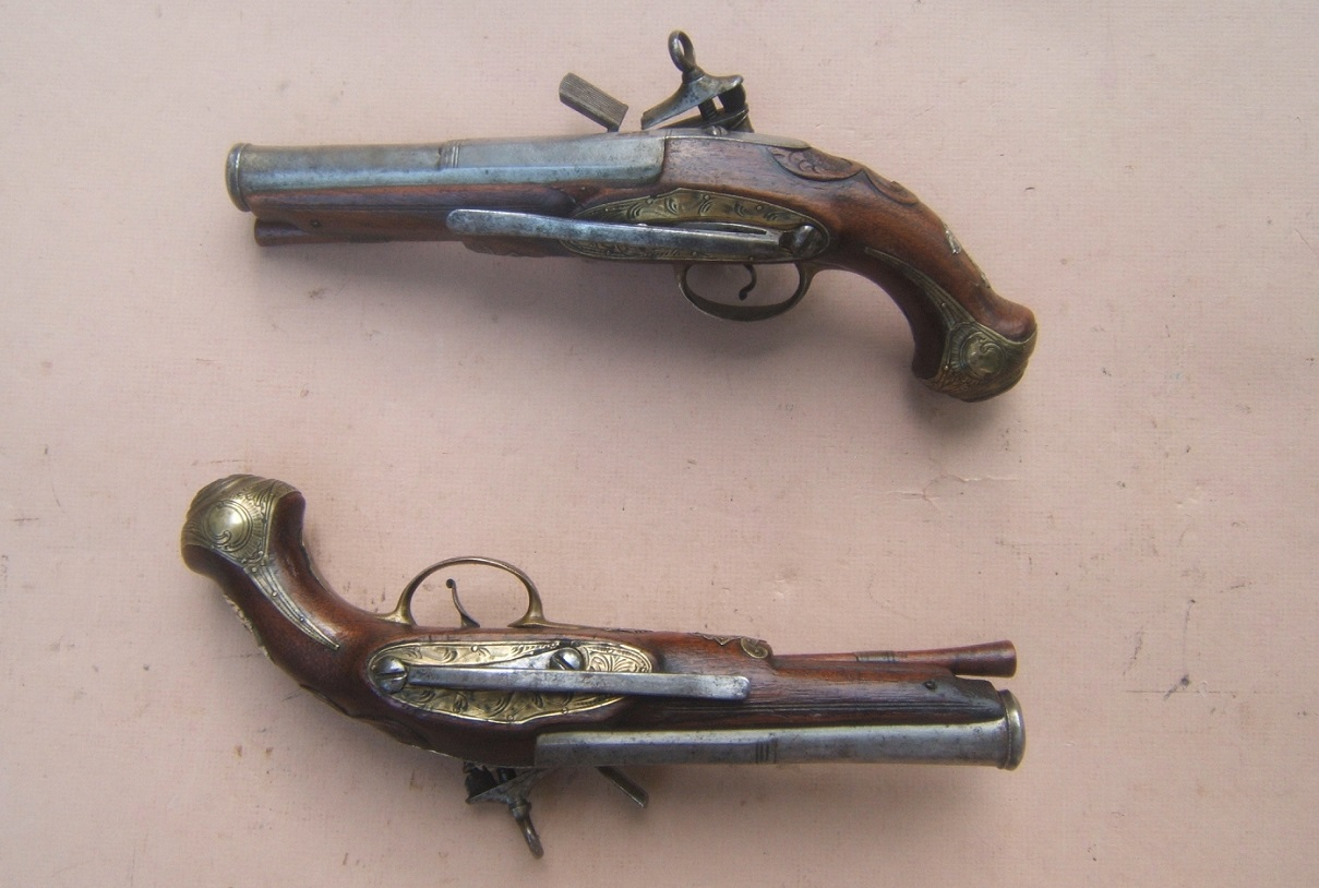 "A FINE PAIR OF SPANISH (RIPOLL-MADE) MIQUELET OFFICER'S BELT-PISTOLS, by ""JOAN PRAT"", ca. 1780  view 2"