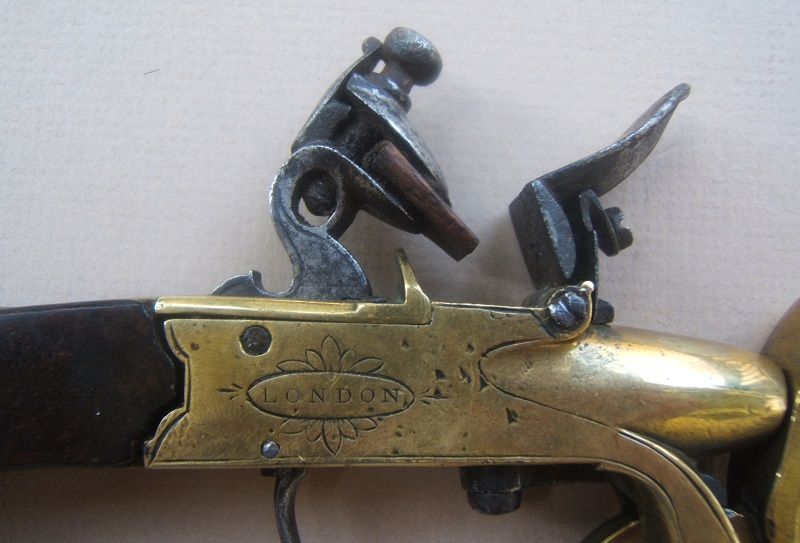 "A FINE ENGLISH ALL-BRASS FLINTLOCK EPROUVETTE/POWDER-TESTER, by ""SHARPE"", ca. 1780 view 3"