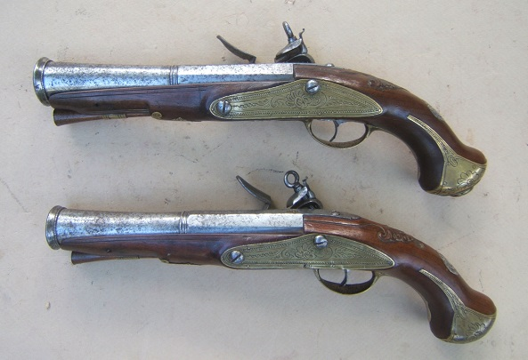 "A VERY FINE & RARE PAIR OF MADRID-LOCK SPANISH (RIPOLL-MADE) FLINTLOCK BLUNDERBUSS OFFICER'S PISTOLS, by ""JOAN ANGELATS"", ca. 1770 view 2"