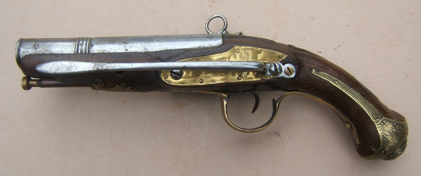 A MID-18th CENTURY SPANISH/SPANISH-COLONIAL MIQUELET OFFICER'S LARGE/MUSKET-BORE BELT PISTOL, ca. 1770 view 2