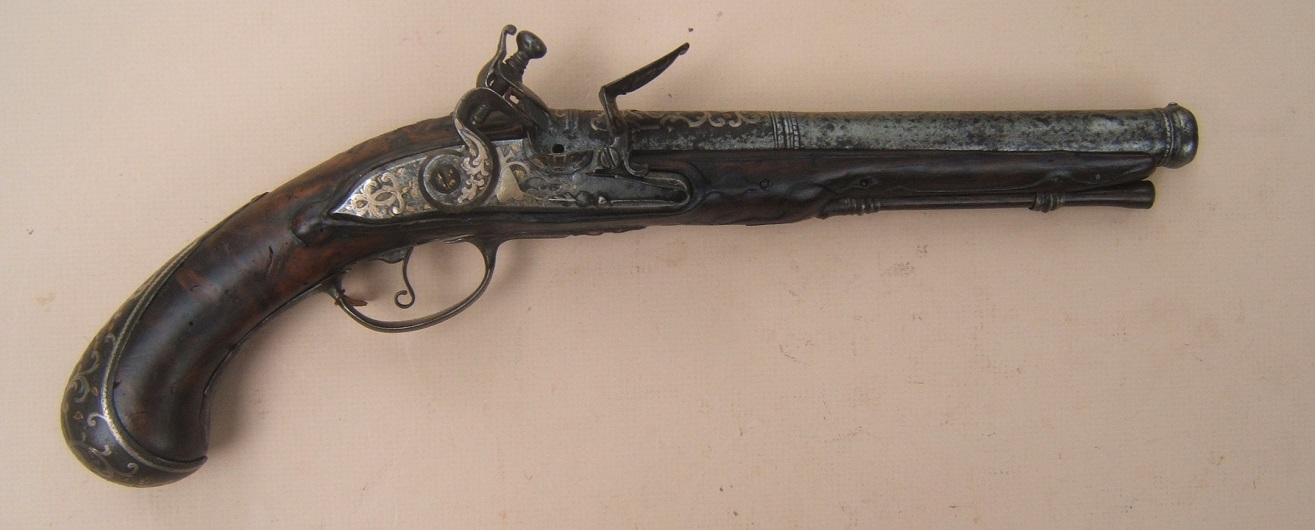 A VERY RARE FINE QUALITY IMPERIAL ERA RUSSIAN FLINTLOCK HOLSTER PISTOL, ca. 1740 view 1