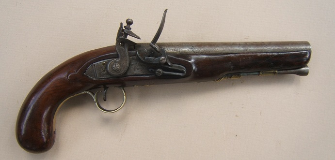 "A GOOD+ WAR OF 1812/NAPOLEONIC PERIOD FLINTLOCK OFFICER'S PISTOL BY ""TWIGG"", ca. 1790 view 1"