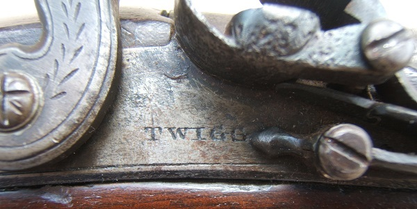 "A GOOD+ WAR OF 1812/NAPOLEONIC PERIOD FLINTLOCK OFFICER'S PISTOL BY ""TWIGG"", ca. 1790 view 4"