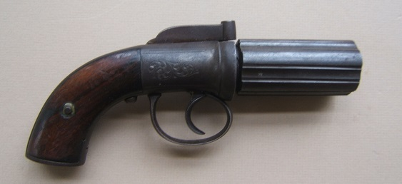 A GOOD GOLD RUSH ERA ENGLISH PERCUSSION PEPPERBOX PISTOL, ca. 1840s view 1