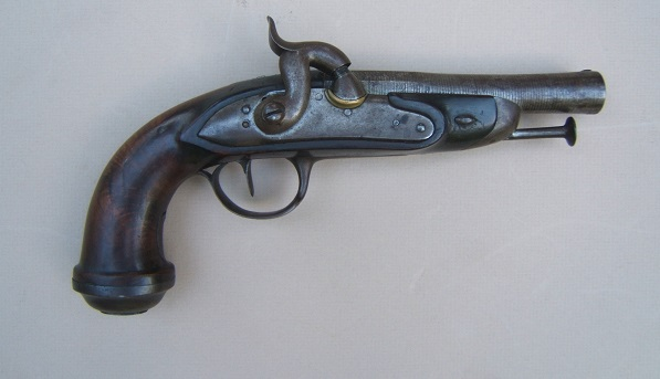 "A VERY GOOD PERCUSSION-CONVERTED FRENCH FLINTLOCK OFFICER'S PISTOL, by ""RENETTE"", ca. 1820/40 view 1"