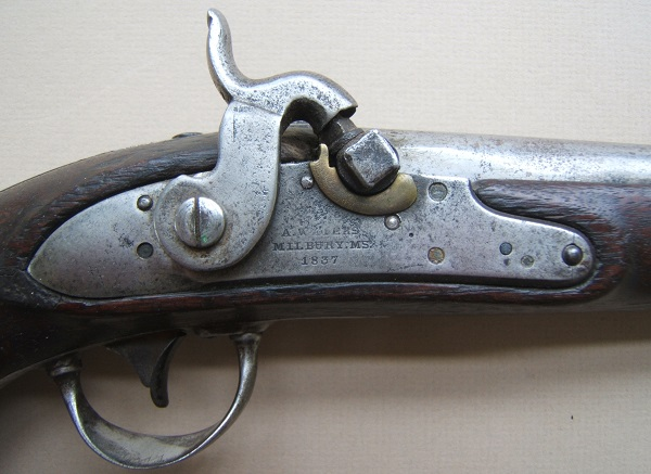 "A VERY GOOD PERCUSSION-CONVERTED US Mdl. 1836 ""A. WATERS"" FLINTLOCK PISTOL, Dtd. 1837 view 3"