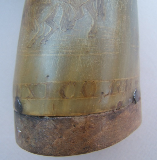 "A VERY FINE MEXICAN WAR PERIOD AMERICAN SOLDIER-ENGRAVED POWDER HORN w/ (BATTLE OF) ""BUENAVISTA 1848"" INSCRIPTION view 2"