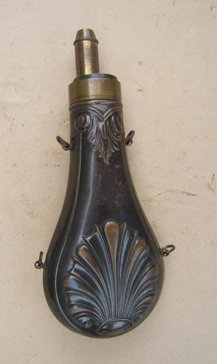 A FINE+ MID 19TH CENTURY AMERICAN EMBOSSED COPPER POWDER FLASK, ca. 1860 view 2