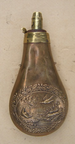 A GOOD+ AMERICAN EMBOSSED BRASS POWDER FLASK, ca. 1850s view 2