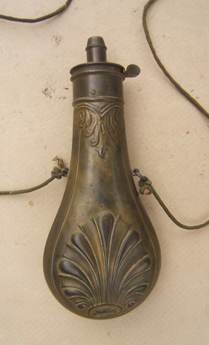 "A VERY FINE ""AMERICAN CAP & FLASK Co."" EMBOSSED BRASS SCALLOP SHELL POWDER FLASK, ca. 1860 view 2"