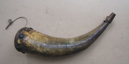 A VERY GOOD+ COLONIAL/FRENCH & INDIAN/AMERICAN REVOLUTIONARY WAR PERIOD LARGE SIZE MUSKET POWDER HORN, dtd. 1734 view 2