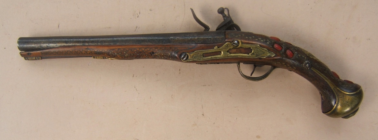 A FINE QUALITY NORTH AFRICAN/MOROCCAN FLINTLOCK HOLSTER PISTOL, ca. 1820 view2