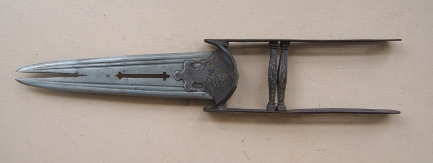 A FINE LATE 19th CENTURY SILVER-DAMASCENED SPLIT-BLADE INDIAN KATAR, ca. 1880 view 2