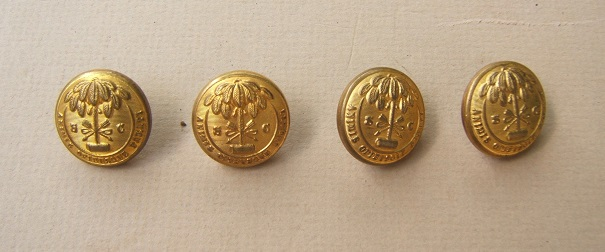 A FINE GROUPING OF FOUR (4) CIVIL WAR PERIOD SOUTH CAROLINA (ENGLISH IMPORT) BUTTONS, ca. 1860 view1