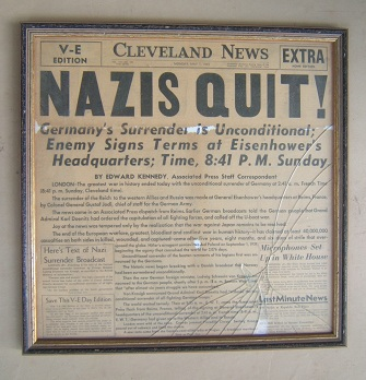 "FRAMED FRONT-PAGE ENDING OF WW II """"NAZIS QUIT"": CLEVELAND NEWS MAY 7, 1945"