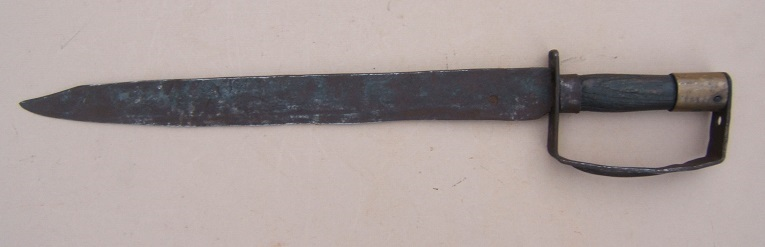 A VERY GOOD CIVIL WAR PERIOD BLACKSMITH-MADE CONFEDERATE D-GUARD BOWIE KNIFE, ca. 1860 view 1