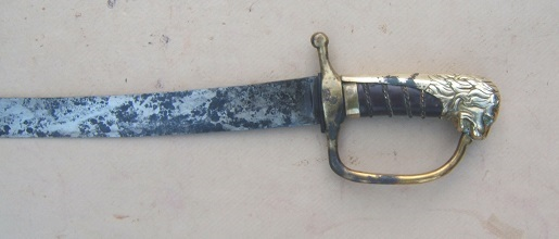 A VERY GOOD ENGLISH LION'S HEAD POMMEL HORSEMAN'S SABER, ca. 1775 view 2
