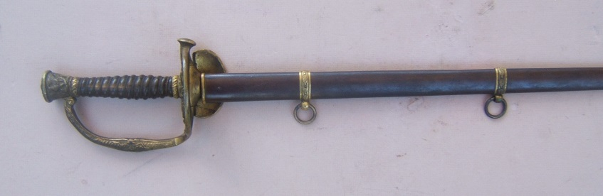A VERY GOOD AMERICAN CIVIL WAR US MODEL 1860 VARIANT FORM MEDICAL STAFF OFFICER'S SWORD and SCABBARD, ca. 1860s view 1