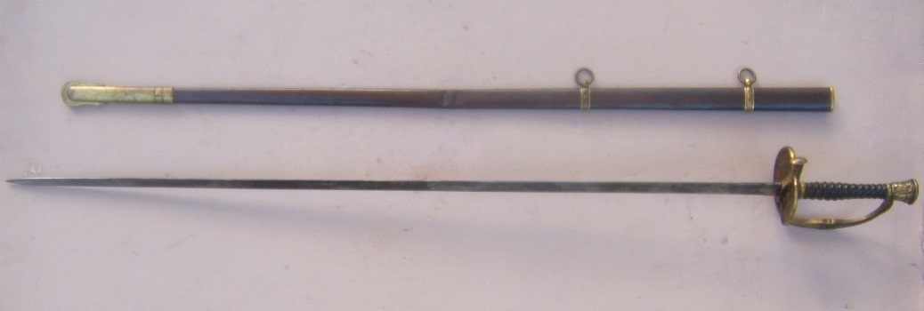 A VERY GOOD AMERICAN CIVIL WAR US MODEL 1860 VARIANT FORM MEDICAL STAFF OFFICER'S SWORD and SCABBARD, ca. 1860s view 2